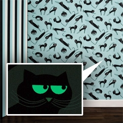 'Phosphowall Cats' is a fun and poetic wallpaper made with phosphorescent ink. By French graphist duet Ich&Kar.