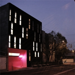 AT103, chosen as one of the hottest architects for 2008 by Wallpaper, designed this stylish apartment building in Mexico. Love the pink entrance.