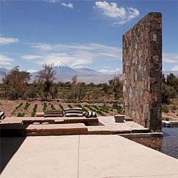 The stylish  Tierra Atacama Hotel is an oasis in the middle of the most dry desert of the world, using local materials to create an architecture that blends with the landscape.