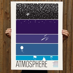 A new 5 color screen print for all you science enthusiasts out there in the universe. Atmosphere, for kids, parents, friends, lovers, aliens, and animals.