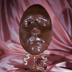 "Bompas and Parr 'Eat My Face' - ""facial-scanning and 3D-printing technology and employing our expertise honed in jelly mould-making, we are able to create a perfect mould of anyone's face which can then be used to create an iconic chocolate egg form."""
