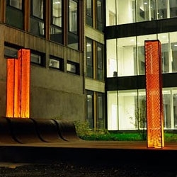 Pillars of light designed by Swedish artist Florian Kynman made of corte steel.