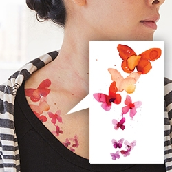 Tattly's watercolor butterfly temporary tattoos with designs by Stina Persson