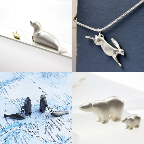Eileen Gatt Jewelry spotted at Scotland: Craft & Design during London Design Week. Lovely, elegant nature inspired pieces featuring polar bears, penguins, seals, rabbits, foxes, and more!