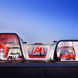 Schmidhuber + Partner designed this beautiful Audi AreA1 exhibit in Barcelona, Spain.