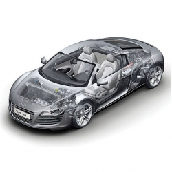 Audi R8 cut-away illustration. Amazing how detailed it is! By Kevin Hulsey.