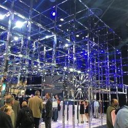 CES 2016 Audi Booth - quite the 3D grid of chrome/mirrored square posts paired with color changing lighting this year.