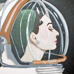 Sarah Ashley Longshore's beautiful painting 'Audrey in Space'.