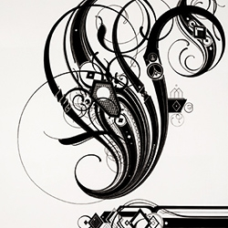 Detailed, graphic, calligraphic work from Tauba Auerbach.