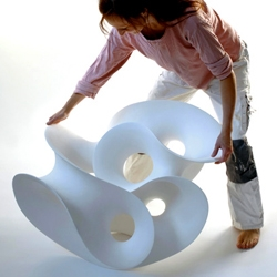Eva Hild, an artist from south-west Sweden, works with ceramic and metal to create single surface sculptures.