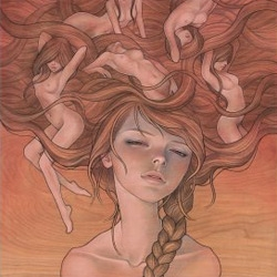 "Audrey Kawasaki's latest print is coming sunday... the gorgeous ""She Entwined"""