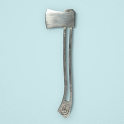 Triumph & Disaster Axe Tube Key - the perfect way to twist every last drop out of that tube of lotion, etc. Each white bronze axe is individually hand cast and finished I Am WoRm Studio.