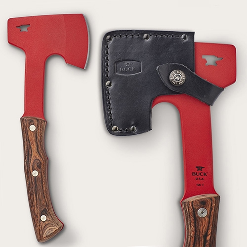 Filson Buck 106 Compadre Camp Axe in a brilliant red! 5160 spring steel powder coated red with Dymondwood handle.