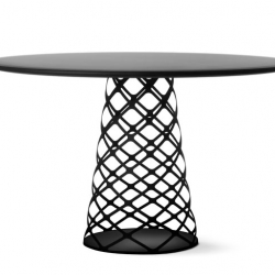 Aoyama Table Series by Paul André Leroy for Danish Gubi. Steel plate table top and a laser cut table base gives the table a visual lightness.