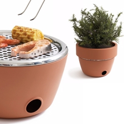 Fun 'hot-pot bbq' by Black + Blum looks like a  normal terracotta pot, but conceals a bbq grill underneath.