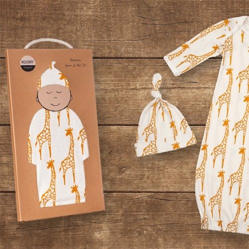 Milk Barn Kids Newborn Gown + Hat Set. Adorable packaging for this collection with fun animal prints.