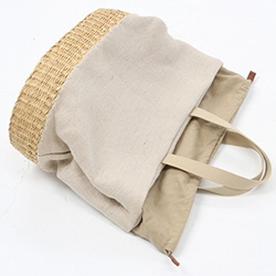 Beklina Muun Straw Natural Combo Bag - Natural straw bag with contrasting natural jute upper and drawstring top with leather inside pulls. Lined with inside pocket.