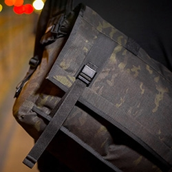 The Mission Workshop Black Camo series is constructed using MultiCam-black 500D Cordura in limited quantities. The bags are available in three sizes and are equipped with all black-metal Arkiv closures and hardware.