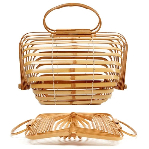 Cult Gaia The Lilleth Bag. A collapsible bamboo bag that flat packs when fully opened.