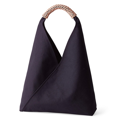 Woven Triangle Bag - MoMA Exclusive. The  sturdy, distinctive handle is woven using a Taiwanese traditional one-thread weaving technique. Made of cotton canvas and Italian vegetable-tanned leather.