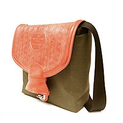 "Cute idea ~ German bag made from a reclaimed hot water bottle used during the 1960s by the ""Bundeswehr"" (Germany's Federal Defense Force)."