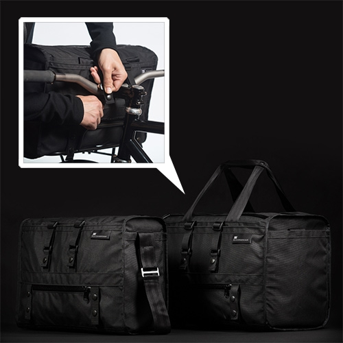 Mission Workshop Transit Series - with a 19L Laptop Shoulder Bag and 31L Duffle Shoulder Bag, both of which can be strapped to your bike handle bars.