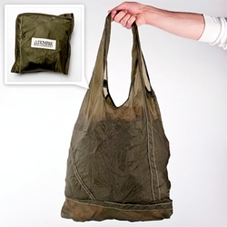 Temple's amazing recycled reusable bag is made from PARACHUTES! re-purposed WWII military issue parachutes to be exact...