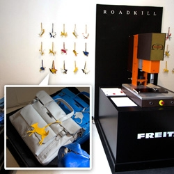 Freitag is giving away Roadkill in their 10 Corso Como pop up shop... animal shaped bag tags cut out of truck tarps to hang/weld from your bag.