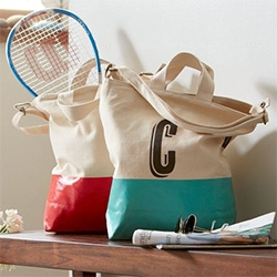 Cute Baggu Bag's for West Elm ~ these canvas totes are dipped in latex, and you can even have them monogrammed!