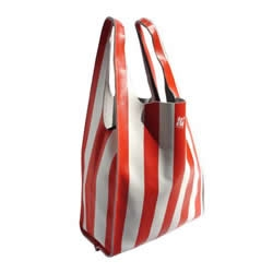 Natalie Thakur's leather grocery bag, rather kitschy based upon the stereotypical corner shop striped plastic bag, is the luxe shopping upgrade you've been waiting for......