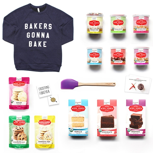 Miss Jones Baking Co. - beyond the organic baking mixes and frostings, they have cheeky text sweatshirts and fun gift sets. Bakers gonna bake! Move fast & bake things! Bake it easy! Bake it off! Let them get baked!