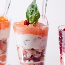 Juice cocktails turned into beautyful caviar pearls on parfait!