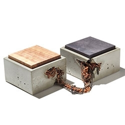 IN.SEK Design Ball & Chain SQR Box Set - An original piece from the Chain Gang series with copper, steel, and blackened chain connecting two boxes. Consider it a relationship metaphor or just a sexy place for your prized possessions.