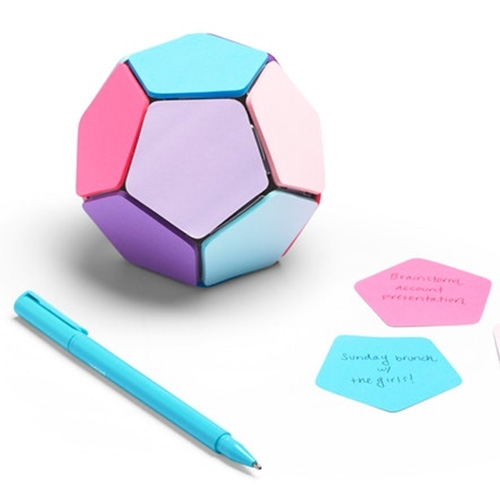 Poppin Sticky Memo Ball - a dodecahedron of sticky notes designed in partnership with Afifi Ishak for Metaproject, a student industrial design competition sponsored by Poppin with Rochester Institute of Technology