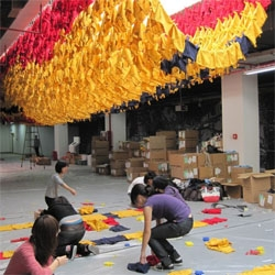 Built to wear: An installation by Ball & Nogues in collaboration with American Apparel for the he 2009 Shenzhen Hong Kong Biennale of Urbanism, using 10,000 AA tshirts.