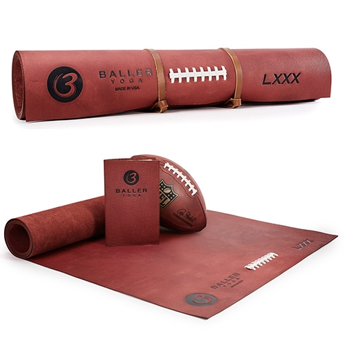 BallerYoga mats begin with the same Horween Tanned-In-Tack football leather used by professional ballers and finish with a contract manufacturer specializing in high-end leather goods.