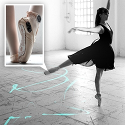 Ledia Trubat's E-Traces project uses Lilypad Arduino tech on ballet shoes to capture dance movements and transforming them into visual sensations.