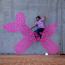 Awesome wireframe streetart From Aakash Nihalani