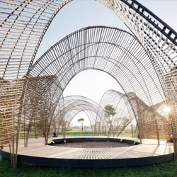nARCHITECTS built this pavilion in Taiwan out of green bamboo shoots. The Taiwanese president used the venue to give a speech about his vision for a low carbon future!