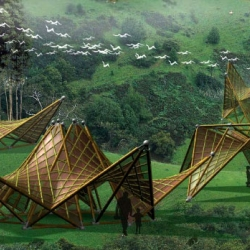 Ming Tang's beautiful origami-inspired Folded Bamboo Houses are intended to be used as temporary shelters in the aftermath of an earthquake.