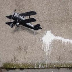Banksy's Biplane Loveheart in Liverpool.