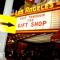 A NOTCOT Exclusive look at the art and installations of Banksy's LA Premiere of Exit Through The Gift Shop at the Los Angeles theatre! Awesome photos by Lou Mora!
