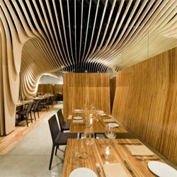 Ondulating wood overdose at the Banq Restaurant  in Boston, designed by office dA.
