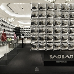 Japanese studio Moment design inflated Bao Bao, a temporary retail store for Issey Miyake inside a historic department store located in Tokyo's Nihonbashi district.