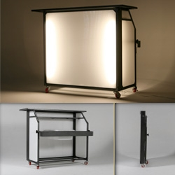 "Blast Bar ~ a portable bar that folds down to 5"" thick... weighs 75 pounds, aluminum frame, water/weatherproof"