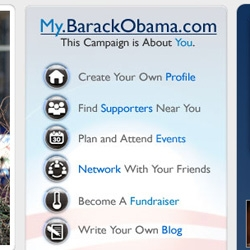 "Election 2.0 has begun... Barak Obama has launched social network ""my.barakobama.com"" as well as links on his main page to his facebook, youtube, and flickr accounts."