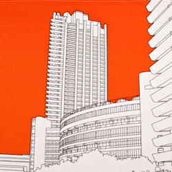 This bright orange tea towel featuring the Barbican theatre is the latest offering from People Will Always Need Plates: Available from designer tea towel outfit todryfor.com