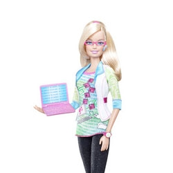 "Apparently the 126th career for Barbie is ~ Computer Engineer! ""a career chosen by half a million Barbie fans."" Bluetooth headset, pink laptop, binary graphic tee and more. Wow."