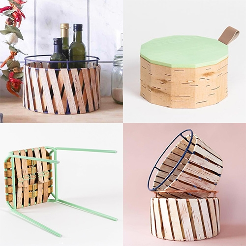 MOYA Birch Bark by Anastasiya Koshcheeva - turning birch bark combined with colorful powder coated steel into storage containers, furniture, lighting and more.