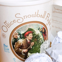 Barker Gray sent out 'Office Snowball Fight' kits this year to bring Northern hemisphere winter fun to Southern hemisphere clients. It uses Victorian imagery and language and comes with both insturcitons and 'snowballs' of waste paper.
